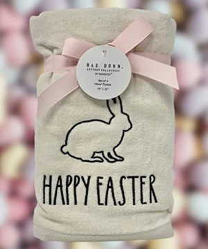 Rae Dunn Happy Easter White Hand Towels Artisan Collection By Magenta Happy Easter In Large LL Font With Super Cute Rabbit Embroidered On The Front Of Every Each Towel PackSet Of 2 0 0 300x360