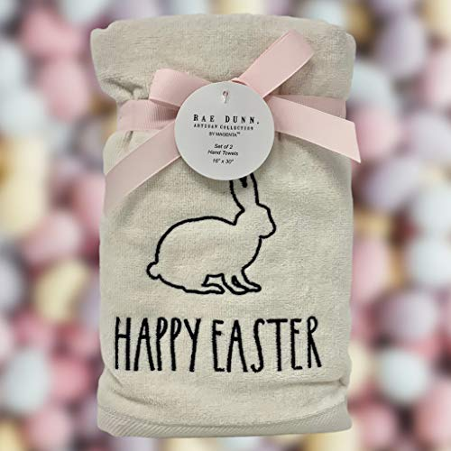 Rae Dunn Happy Easter White Hand Towels Artisan Collection By Magenta Happy Easter In Large LL Font With Super Cute Rabbit Embroidered On The Front Of Every Each Towel PackSet Of 2 0 0