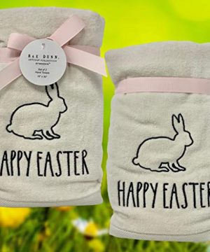 Rae Dunn Happy Easter White Hand Towels Artisan Collection By Magenta Happy Easter In Large LL Font With Super Cute Rabbit Embroidered On The Front Of Every Each Towel PackSet Of 2 0 1 300x360