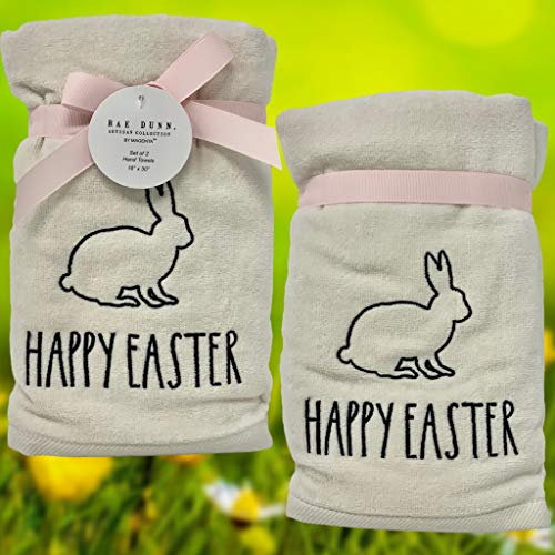 Rae Dunn Happy Easter White Hand Towels Artisan Collection By Magenta Happy Easter In Large LL Font With Super Cute Rabbit Embroidered On The Front Of Every Each Towel PackSet Of 2 0 1