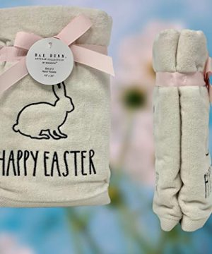 Rae Dunn Happy Easter White Hand Towels Artisan Collection By Magenta Happy Easter In Large LL Font With Super Cute Rabbit Embroidered On The Front Of Every Each Towel PackSet Of 2 0 2 300x360