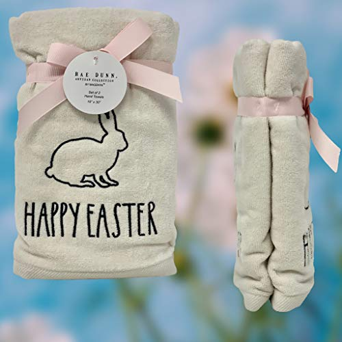 Rae Dunn Happy Easter White Hand Towels Artisan Collection By Magenta Happy Easter In Large LL Font With Super Cute Rabbit Embroidered On The Front Of Every Each Towel PackSet Of 2 0 2
