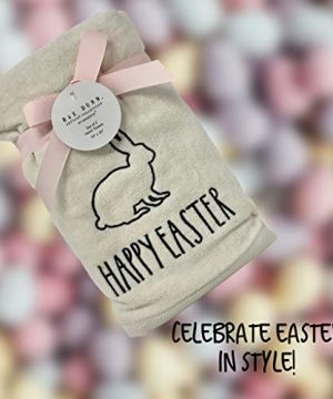 Rae Dunn Happy Easter White Hand Towels Artisan Collection By Magenta Happy Easter In Large LL Font With Super Cute Rabbit Embroidered On The Front Of Every Each Towel PackSet Of 2 0 3 300x360
