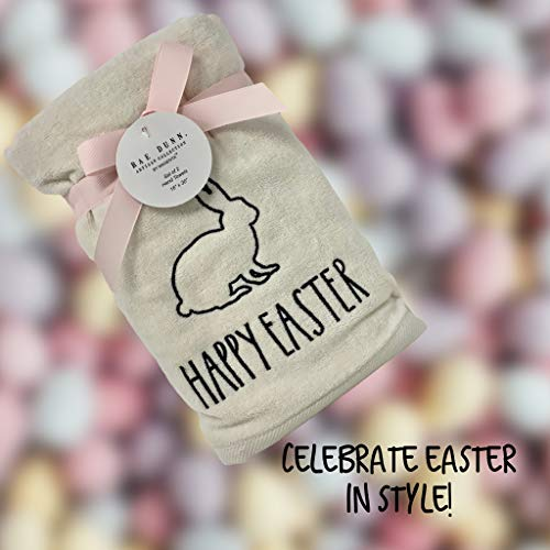 Rae Dunn Happy Easter White Hand Towels Artisan Collection By Magenta Happy Easter In Large LL Font With Super Cute Rabbit Embroidered On The Front Of Every Each Towel PackSet Of 2 0 3
