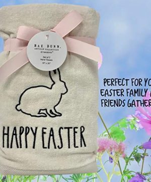 Rae Dunn Happy Easter White Hand Towels Artisan Collection By Magenta Happy Easter In Large LL Font With Super Cute Rabbit Embroidered On The Front Of Every Each Towel PackSet Of 2 0 5 300x360