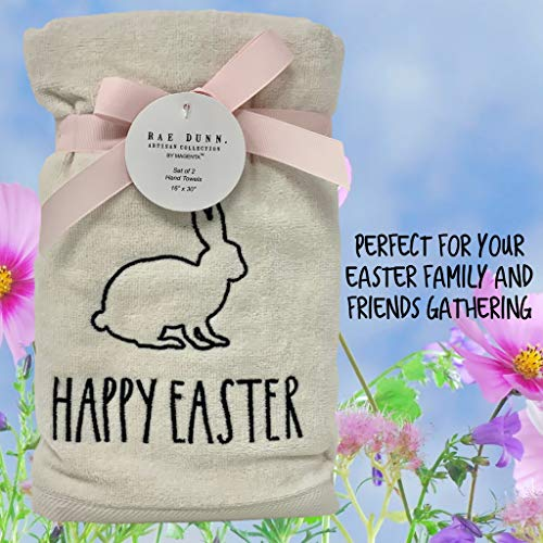 Rae Dunn Happy Easter White Hand Towels Artisan Collection By Magenta Happy Easter In Large LL Font With Super Cute Rabbit Embroidered On The Front Of Every Each Towel PackSet Of 2 0 5
