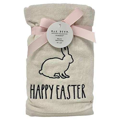 Rae Dunn Happy Easter White Hand Towels Artisan Collection By Magenta Happy Easter In Large LL Font With Super Cute Rabbit Embroidered On The Front Of Every Each Towel PackSet Of 2 0