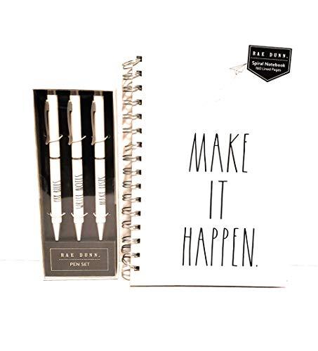 Rae Dunn MAKE IT HAPPEN Notebook And Pen Set Writing Combo 0