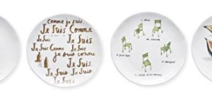 Rae Dunn Magenta Boutique French Sketch Sketchbook Set 4 Canape Appetizer Plates In 4 Different Designs 0 300x142