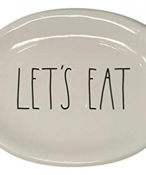 Rae Dunn Magenta Ceramic Plate Oval Lets Eat 0 300x360