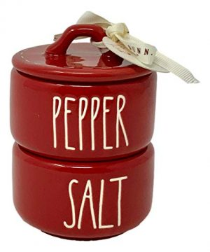Rae Dunn Red Salt And Pepper Cellars 2 Piece Stackable Beautiful Red Ceramic Salt And Pepper Cellars With LL Font White Letters Will Be Beautiful On Every Christmas Dinner Table 0 300x360