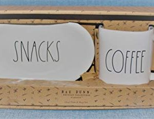 Rae Dunn SNACKS And COFFEE In LL 8 Inch Oval SNACK Plate And COFFEE Mug Cup Set In Gift Box By Magenta 0 300x232