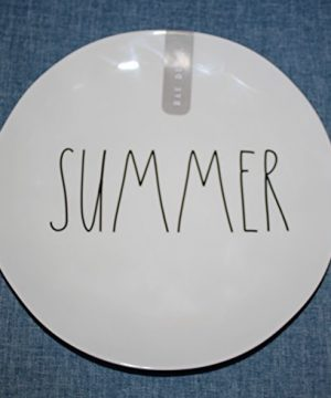 Rae Dunn SUMMER In Large Letters LL Melamine Collection 10 Inch Dinner Plate By Magenta 0 300x360