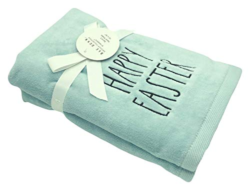 Rae Dunn Spring Easter Hand Towels Set Of 2 Soft Robin Blue Embroidered Happy Easter Easter Bunny Spring Hand Towel Set For Easter Bathroom Home Decor 0 0