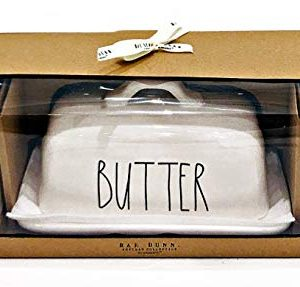 Rae Dunn By Magenta BUTTER Dish With S Salt And P Pepper Shaker 3 Item Boxed Set 0 300x287