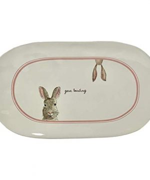 Rae Dunn By Magenta Ceramic 145 GONE HUNTING Bunny Rabbit Easter Spring Serving Platter Plate 0 300x360