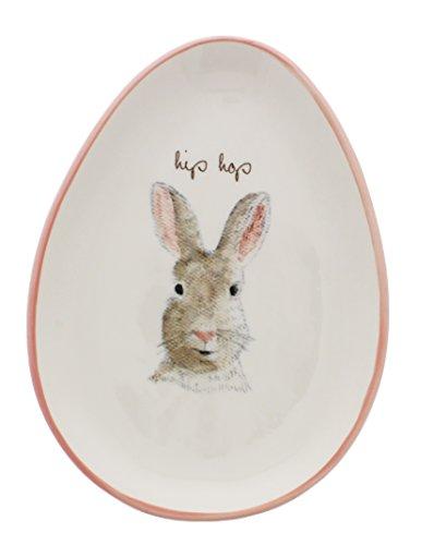 Rae Dunn By Magenta HIP HOP Bunny Egg Shape Appetizer Plate 0