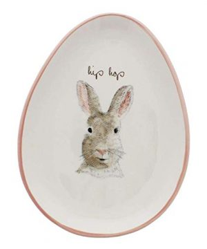 Rae Dunn By Magenta HIP HOP Bunny Egg Shape Appetizer Plates Set Of 4 0 300x360