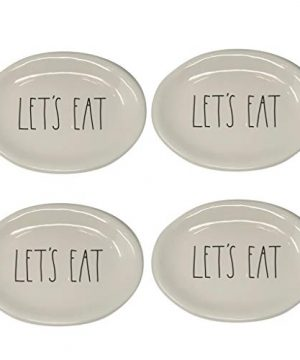 Rae Dunn By Magenta Ovals Lets Eat Appetizer Plates Set Of 4 0 300x360