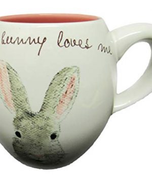 Rae Dunn By Magenta SOME BUNNY LOVES ME Easter Bunny Coffee Mug Pink Interior 0 0 300x360