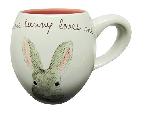 Rae Dunn By Magenta SOME BUNNY LOVES ME Easter Bunny Coffee Mug Pink Interior 0 0