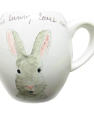 Rae Dunn By Magenta SOME BUNNY LOVES ME Easter Bunny Coffee Mug Pink Interior 0 1 300x360