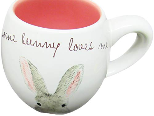Rae Dunn By Magenta SOME BUNNY LOVES ME Easter Bunny Coffee Mug Pink Interior 0