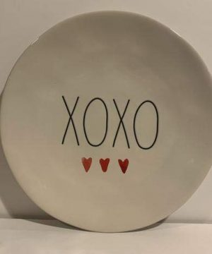 Rae DunnXOXO Plate SET OF 2 With 3 Hearth Ceramic Dishwasher Safe Very Rare 0 300x360