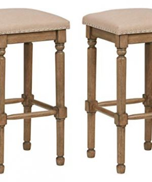 Ravenna Home Ferris Nailhead Wood Detailed Bar Stool 293H Weathered Oak With Linen Fabric 2 Pack 0 300x360