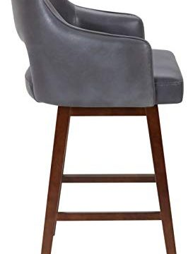 Rivet Malida Mid Century Modern Faux Leather Open Back Swivel Kitchen Bar Stool 41H Grey 0 2 273x360