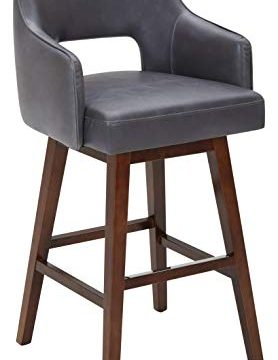 Rivet Malida Mid Century Modern Faux Leather Open Back Swivel Kitchen Bar Stool 41H Grey 0 278x360