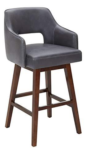 Rivet Malida Mid Century Modern Faux Leather Open Back Swivel Kitchen Bar Stool 41H Grey 0