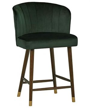 Rivet Modern High Back Barstool 41H Dark Green 0 300x360