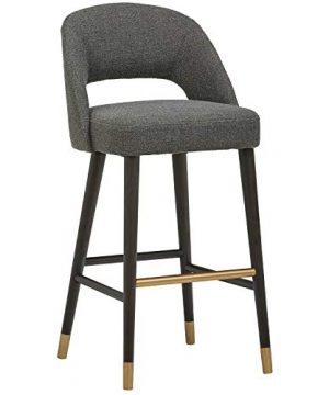 Rivet Whit Contemporary Upholstered Bar Stool With Gold Accents 41H Flannel Grey 0 300x360