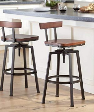 Roark Dark Bronze Adjustable Swivel Bar Stools Set Of 2 Elm Lane 0 300x360