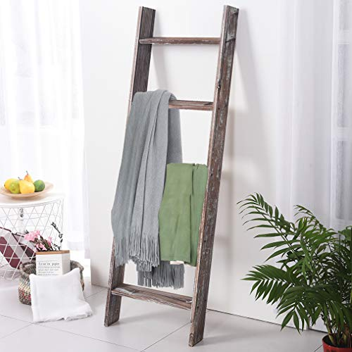Rose Home Fashion RHF Decorative Blanket LadderRustic Blanket Ladder45ft Blanket LaddersRustic Wood LadderFarmhouse Blanket Ladder Storage Ladder Quilt Rack Assembly Required 45 FeetBrown 0 3