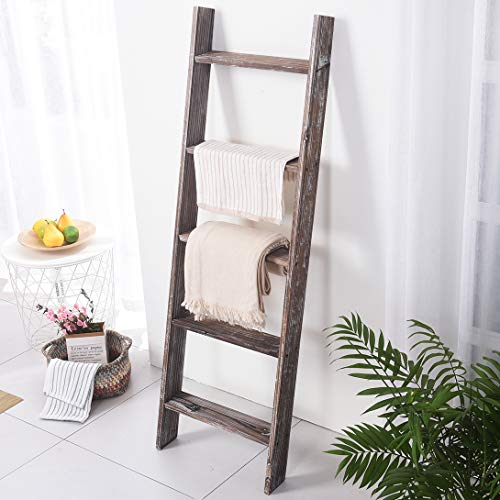Rose Home Fashion RHF Decorative Blanket LadderRustic Blanket Ladder45ft Blanket LaddersRustic Wood LadderFarmhouse Blanket Ladder Storage Ladder Quilt Rack Assembly Required 45 FeetBrown 0 5