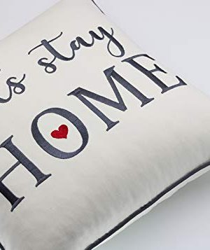 Rudransha Pillowcase Embroidered Lets Stay Home Pillow Phrase Pillow Word Pillow Cotton Pillow Cover Farmhouse Pillow Covers Rustic Pillow Rustic Decor IvoryLets Stay 18x18 0 0 300x357
