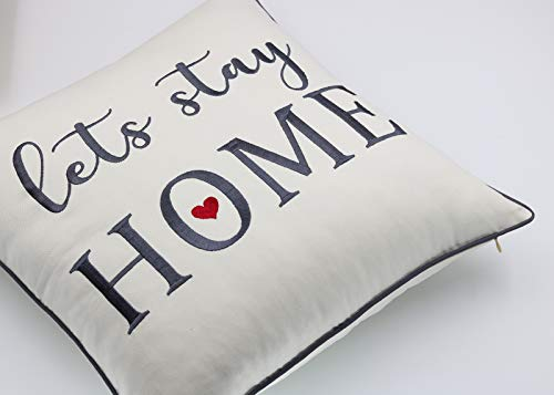 Rudransha Pillowcase Embroidered Lets Stay Home Pillow Phrase Pillow Word Pillow Cotton Pillow Cover Farmhouse Pillow Covers Rustic Pillow Rustic Decor IvoryLets Stay 18x18 0 0