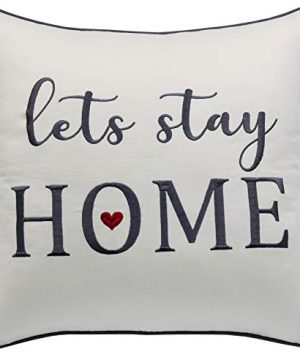 Rudransha Pillowcase Embroidered Lets Stay Home Pillow Phrase Pillow Word Pillow Cotton Pillow Cover Farmhouse Pillow Covers Rustic Pillow Rustic Decor IvoryLets Stay 18x18 0 300x360