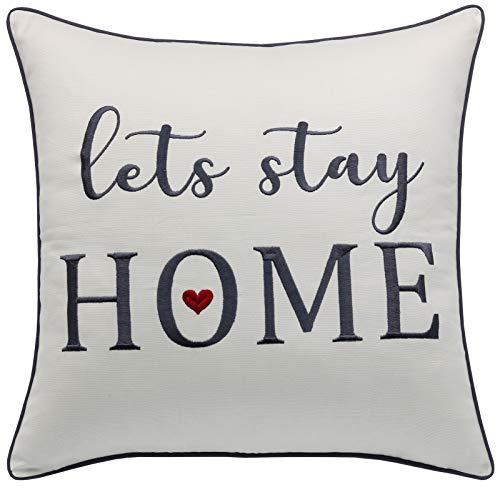 Rudransha Pillowcase Embroidered Lets Stay Home Pillow Phrase Pillow Word Pillow Cotton Pillow Cover Farmhouse Pillow Covers Rustic Pillow Rustic Decor IvoryLets Stay 18x18 0