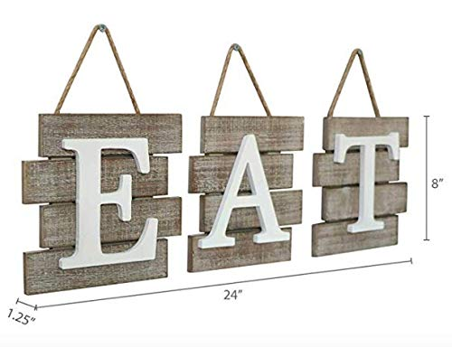 """Rustic Barn Designs Eat Sign Kitchen and Home Wall Decor Light Weight Easy to Hang 24 x 8/"""" Farmhouse Country Decorative Wall Art Distressed Wood"""