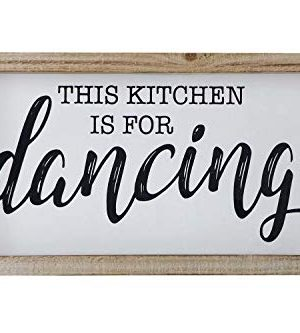 SANY DAYO HOME Rustic Wood Framed Signs 9 X 16 Inch Hanging Farmhouse Wall Art Dcor With Funny Saying For Home Kitchen Bathroom This Kicthen Is For Dancing 0 300x333