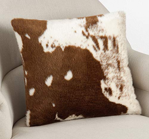 SARO LIFESTYLE 471BR18S Lait Design Urban Faux Cowhide Poly Filled Pillow 18 Brown 0 1
