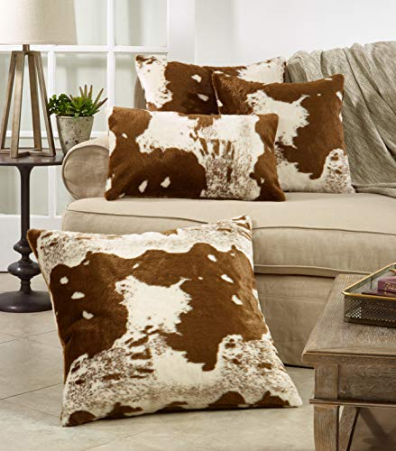 SARO LIFESTYLE 471BR18S Lait Design Urban Faux Cowhide Poly Filled Pillow 18 Brown 0 2