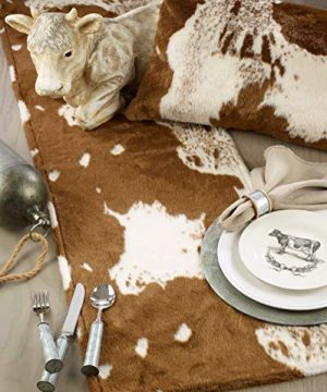 SARO LIFESTYLE 471BR18S Lait Design Urban Faux Cowhide Poly Filled Pillow 18 Brown 0 3 300x360
