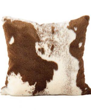 SARO LIFESTYLE 471BR18S Lait Design Urban Faux Cowhide Poly Filled Pillow 18 Brown 0 300x360