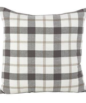 SARO LIFESTYLE Classic Plaid Pattern Cotton Down Filled Throw Pillow 20 X 20 Grey 0 300x360