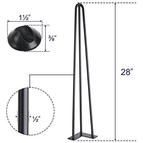 SMARTSTANDARD 28 Heavy Duty Hairpin Coffee Table Black 12 Thick Set Of Four Legs X 4 28 Inch 4PCS 0 3