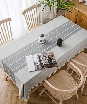 SOLEDI Stitching Tassel Tablecloth Cotton Linen Fabric Dust Proof Table Cover For Kitchen Dinning Tabletop Decoration Square Table Round Table Is Available55 X 70 0 300x360